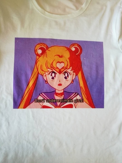 8cf1563bf9b PUDO-JBH 1PCS Dont Underestimate Girls Quote Sailor Moon Quotes T-Shirt  Japanese Anime