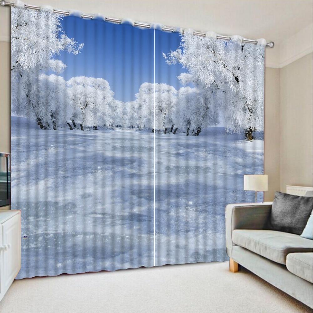 Zakázkové bílé 3d záclony bílé sněhové záclony vlastní záclony okenní závěsy pro obývací pokoj domácí ložnice dekorace