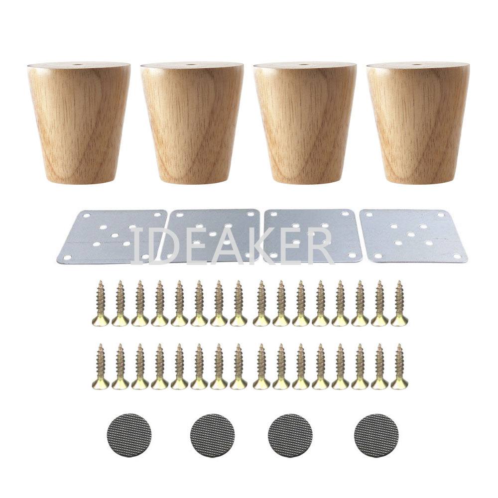 4PCS 58x60x38mm Oak Furniture Legs Wooden Furniture Feet Cabinet Table Sofa Legs With Iron Pads Gaskets Screws