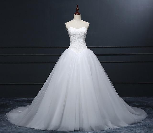 vestidos de novia escote redondo francia encaje corset top puffy