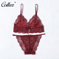 COLLEER Summer Style Satin Silk Underwear Thin Sexy Lace Comfortable Lingerie Set Sexy Satin Bra And