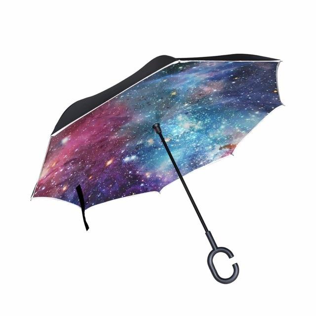 e8cc237c6568 Inverted Umbrella Double Layer Women Rain Galaxy Space Reverse Umbrella  male guarda chuva invertido paraguas parapluie Windproof-in Umbrellas from  ...