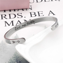 Wide 6mm Cuff Trendy Inspirational Love my trible With Arrow Bracelets Titanium Encouragement Bangle For Men Women Jewelry trendy pure color arrow cuff ring for women
