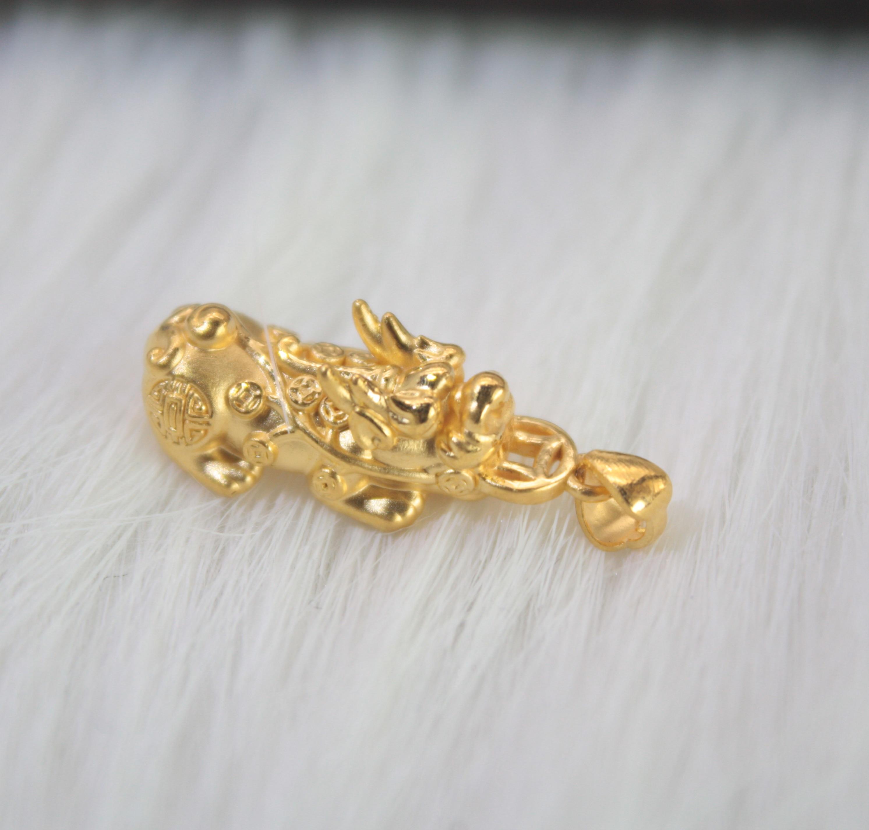 Nouveau réel 999 24 k or jaune 3D unisexe chance Dragon perle pendentif 2.5-3g 25x12mm