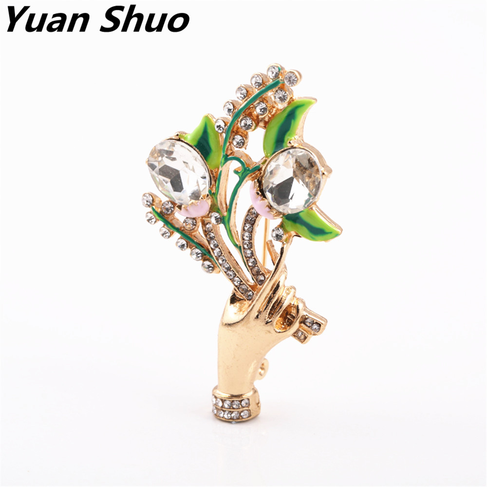 2017 New inlaid semi-precious stones natural life Department of fashion exquisite hand holding flowers enamel brooch corsage