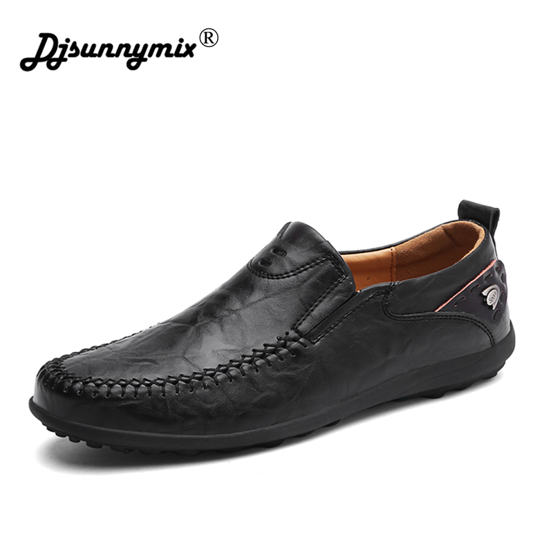 DJSUNNYMIX 2018 NEW Genuine Leather Shoes Men Italian handmade moccasins non-slip loafers hot sale flats driving shoes