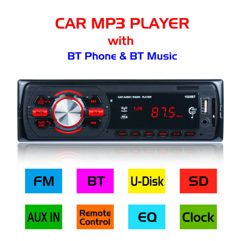 Car Radio Detachable HD Bluetooth Stereo FM/AM Radio Bluetooth Car Plug in Card Machine U Disk Locomotive Car MP3 Player 1025BT