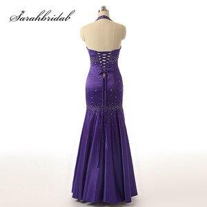 Image 2 - Sexy licou cou robes de soirée dos nu élégant sirène noir violet Satin perles fête robes de bal longueur de plancher longue SD176 5116