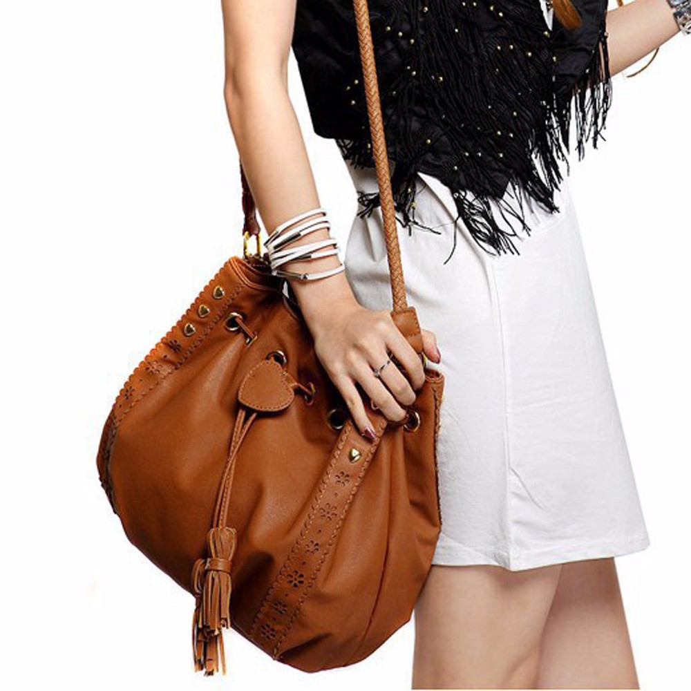 2017 New Fashion Lady Handbag Shoulder Bag Tote Purse PU Leather Women Messenger Hobo Bags Drawstring Tassels Retro Bag Hot Sale