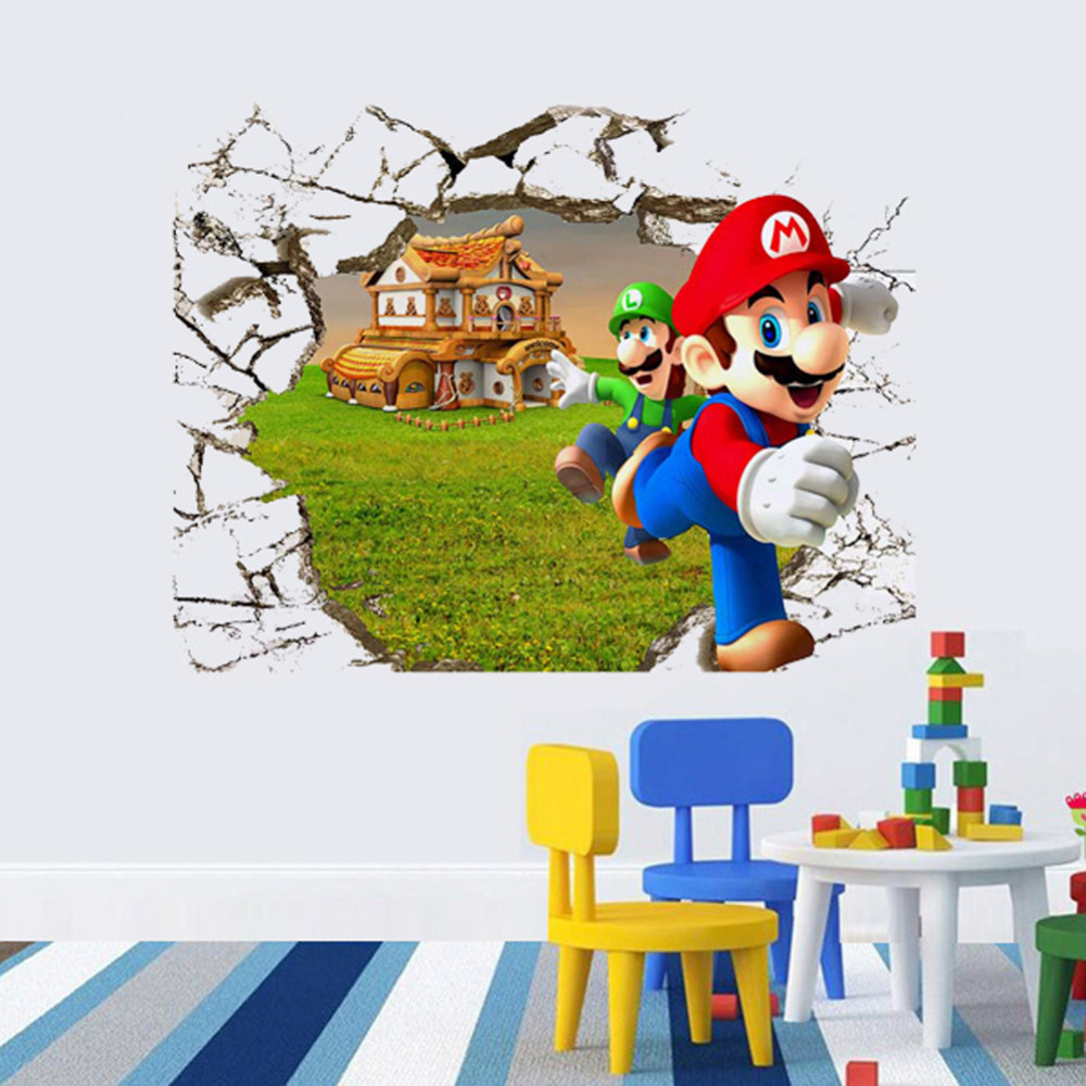 New 3d super mario bros cartoon vinyl wall stickers for kids rooms new 3d super mario bros cartoon vinyl wall stickers for kids rooms diy wallpaper nursery art decals home decor in wall stickers from home garden on amipublicfo Gallery