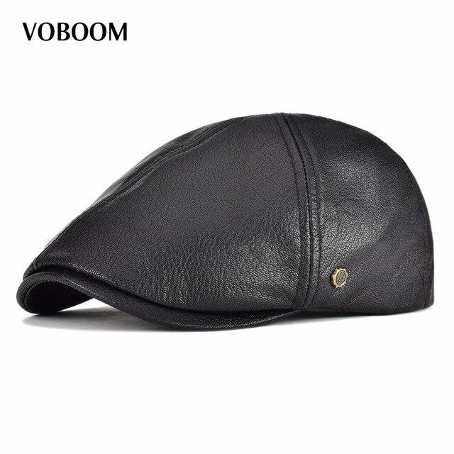 Gorro plano de cuero auténtico VOBOOM con diseño de 6 paneles y boina para  hombre y 65534121254