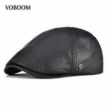 VOBOOM Genuine Real Leather Flat Cap 6 Panel Design Cabbie Beret Hat for Men Women Newsboy 154