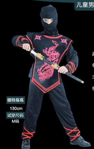 Free shipping 110-140CM Children's Halloween cosplay Costume Boys 3 PCS SET Costumes Kids Naruto Ninja Cosplay game uniforms