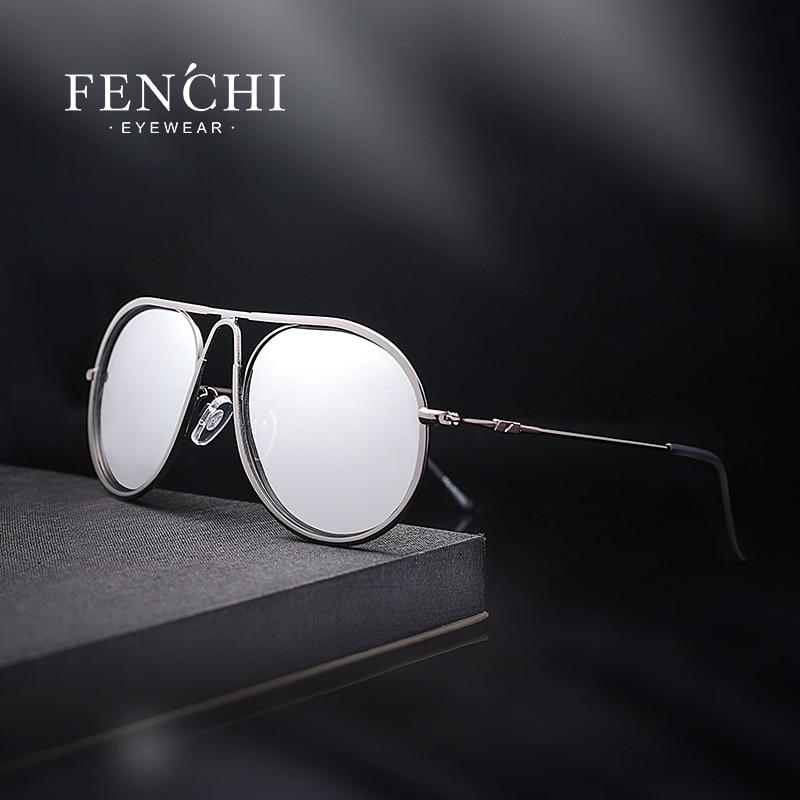 FENCHI משקפי שמש מקוטבות אופנה מסגרת מתכת משקפי שמש פנים קטנים עיצוב מותג משקפי נהיגה רטרו וינטג 'UV400