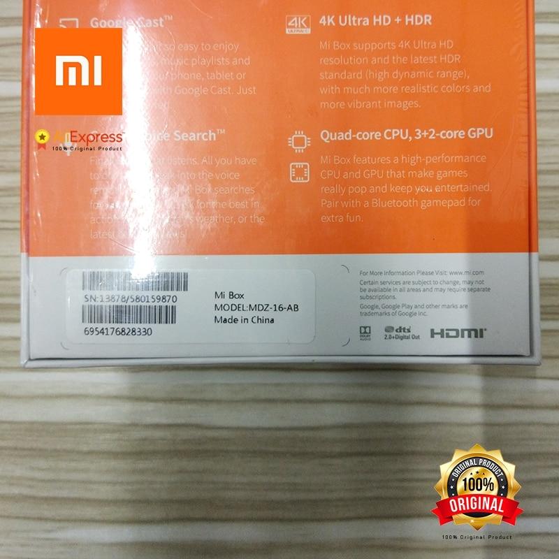 US $79 99 |Mi Box 4k Ultra HD set top box Global Xiaomi Original Google  Cast Voice Search remote included Android TV HDMI Model MDZ 16 AB-in Smart