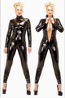 Hot Sexy Black Catwomen Jumpsuit PVC Spandex Latex Catsuit Costumes for Women Body Suits Fetish Leather Dress Plus Size XS-5XL