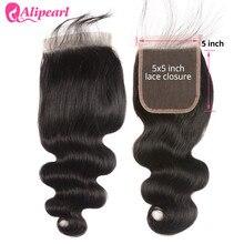 5X5 кружевная застежка свободная часть с детскими волосами объемная волна человеческие волосы Закрытие 10-20 дюймов Натуральные Черные швейцарские кружева AliPearl волосы