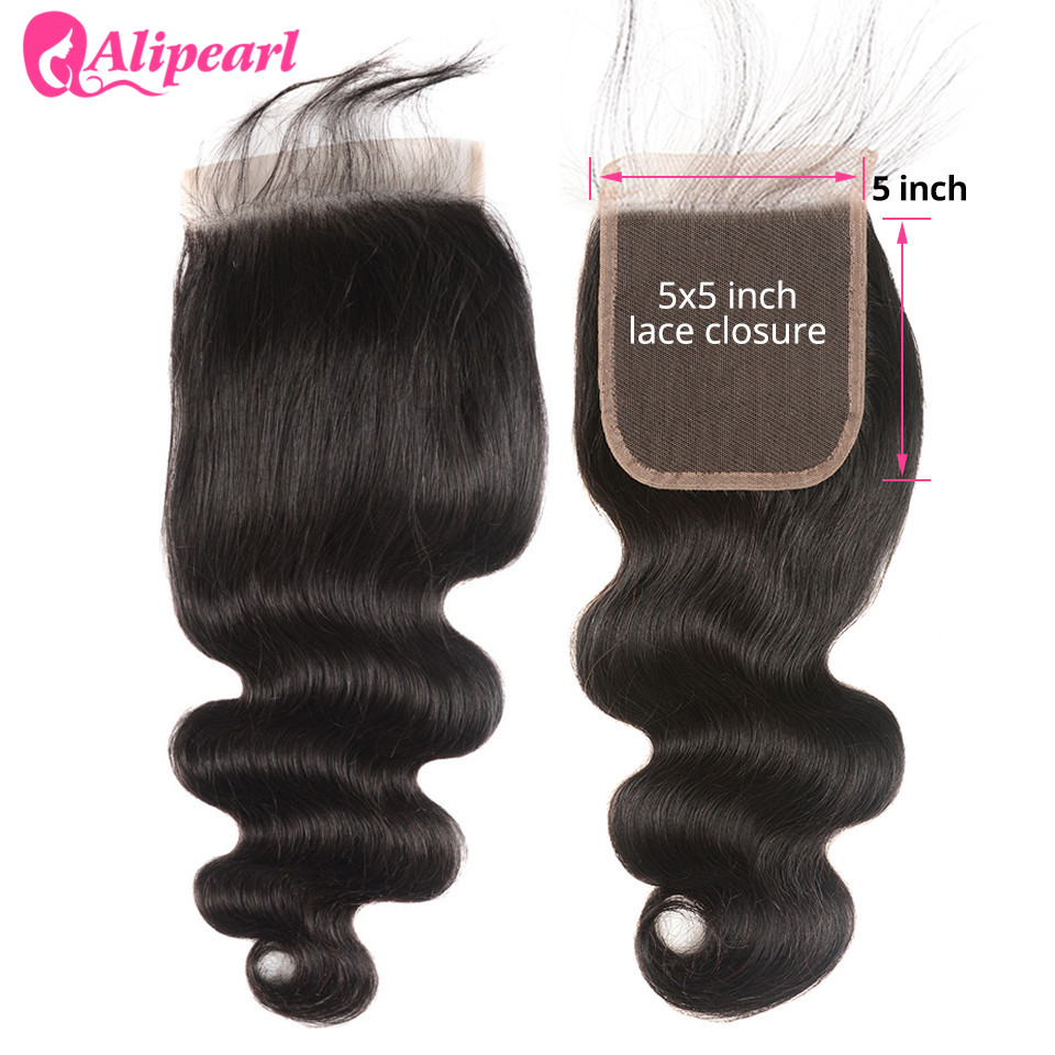 5X5 Lace Closure Free Part With Baby Hair Body Wave 100% Human Hair Closure 10-20inch Natural Black Swiss Lace AliPearl Hair