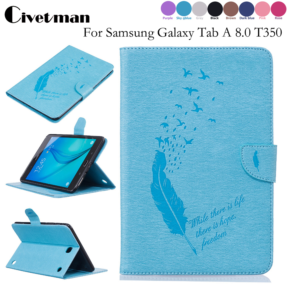 Fashion Plume Print PU Leather Flio Book Style Case For Samsung Galaxy Tab A8.0 T350 T355 SM-T355 8'' Tablet Cover luxury tablet case cover for samsung galaxy tab a 8 0 t350 t355 sm t355 pu leather flip case wallet card stand cover with holder
