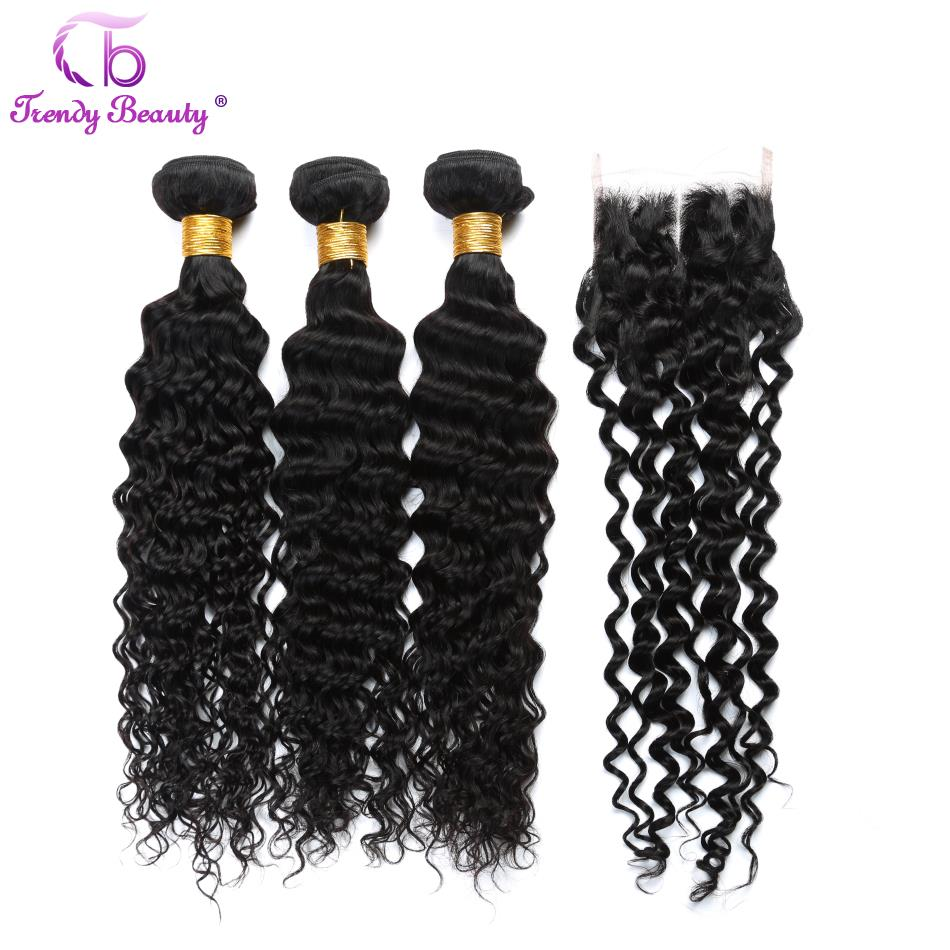 Brazilian Deep Curly 100% Human Hair Weaves 3 Bundles With Lace Closure Middle/free/three Natural Color Trendy Beauty Non-Remy
