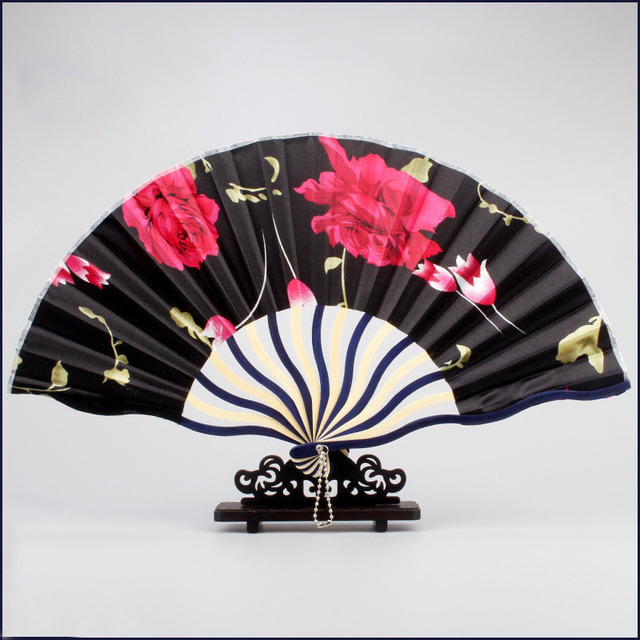 Ventilador de mano de flores Vintage hermoso ventilador de paisaje Retro superficie plegable bambú paño ventilador boda fiesta regalos a los invitados