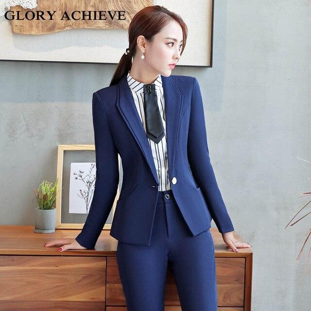 67a553b33 Traje pantalón mujer nueva moda Otoño mujeres Formal trabajo Oficina manga  larga pantalones OL ajustado un