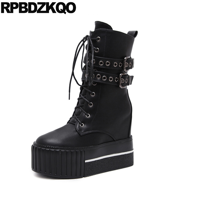 Height Increased Elevator Metal Lace Up Military Women Ankle Boots 2016 Round Toe Muffin Shoes Flat Black British Combat