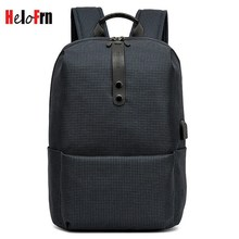 HeloFrn Preppy Style Men Backpack Laptop USB Charging College Student Bags Male Women Simple Travel  Mochila