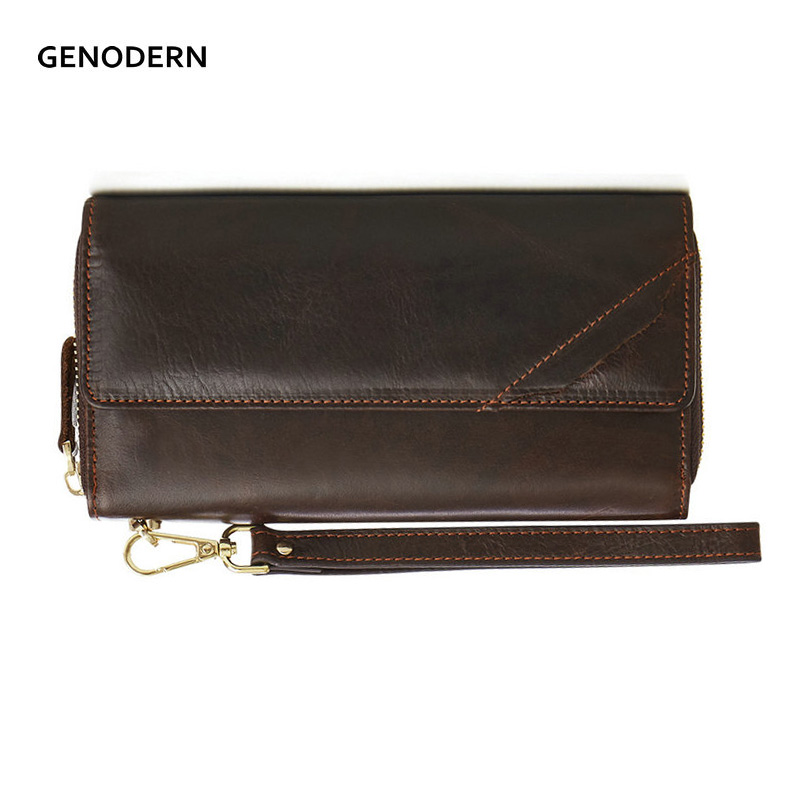 GENODERN Vintage Clutch Wallet for Men Male Clutch Purse Zipper Men Wallets Long Man's Clutch Wallets genodern business men clutch bag cowhide men clutch wallets 100