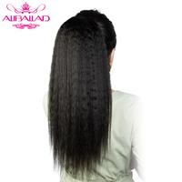 Aliballad Kinky Straight Drawstring Ponytail Brazilian Clip In Human Hair Extensions 12 20 Natural Color Non Remy 2 Combs