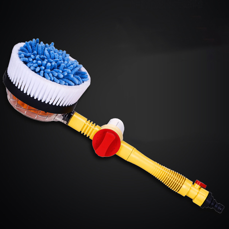 Portable Automatic Car Foam Brush Professional Spray Foam Rotating Brush Auto Clean Tools Wash Switch Water Flow