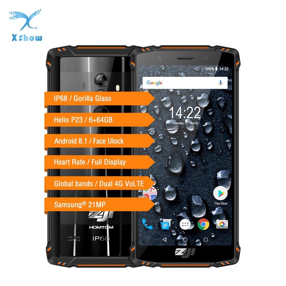 HOMTOM ZOJI Z9 6 ギガバイト 64 ギガバイト IP68 5500mAh 防水携帯電話心拍数アンドロイド 8.1 5.7 インチ顔 ID 指紋 4 3g スマートフォン  グループ上の 携帯電話 & 電気通信 からの 携帯電話 の中 1
