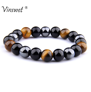 Natural Black Obsidian Hematite Tiger Eye Beads Bracelets Men for Magnetic Health Protection Women Jewelry Pulsera Hombre(China)