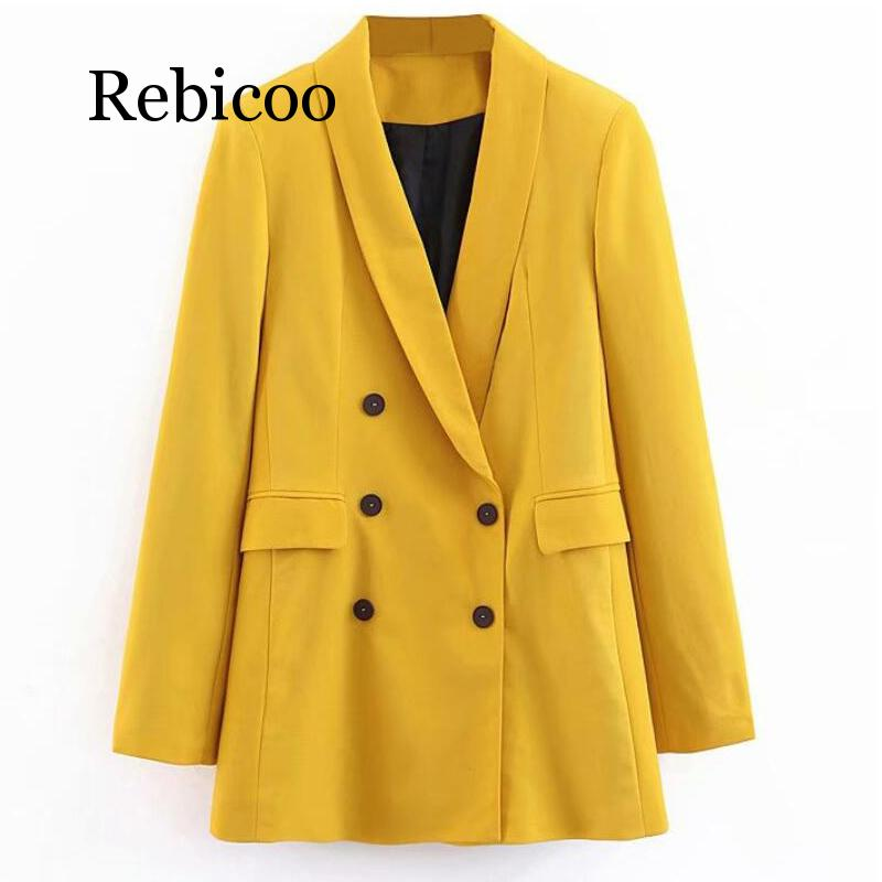 2019 Women Double Breasted Long Blazers Office Lady Small Suit Jacket Ladies Leisure Yellow Blazer Loose Coat Streetwear