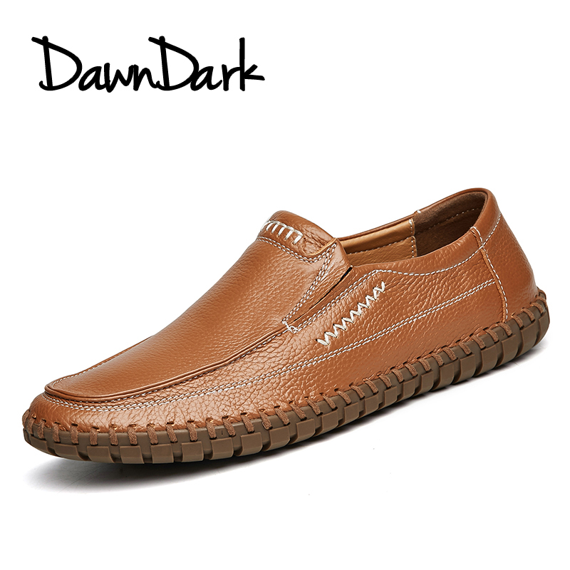 Men Casual Shoes Genuine Leather Male Soft Leather Flat Loafers - Men's Shoes - Photo 6