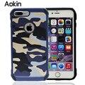 Aokin Camo Camouflage Pattern 2 em 1 Armadura de Couro Duro Tampa Traseira caso de telefone protetora para iphone 7 6 6 s plus 5S se coldre