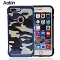 Aokin Camo Camouflage Pattern  2 in 1 Armor Hard Leather Back Cover Protective Phone Case For Iphone 7 6 6s Plus 5s SE holster