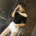 summer new Lady's brandy slash neck off shoulder cotton slit neckline short sleeve Choker crop Top yy746