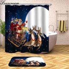Рождественская занавеска для душа, Рождественский Декор для дома, Санта Клаус, занавеска для душа, сонный снеговик, водонепроницаемый, для ванной комнаты или коврика