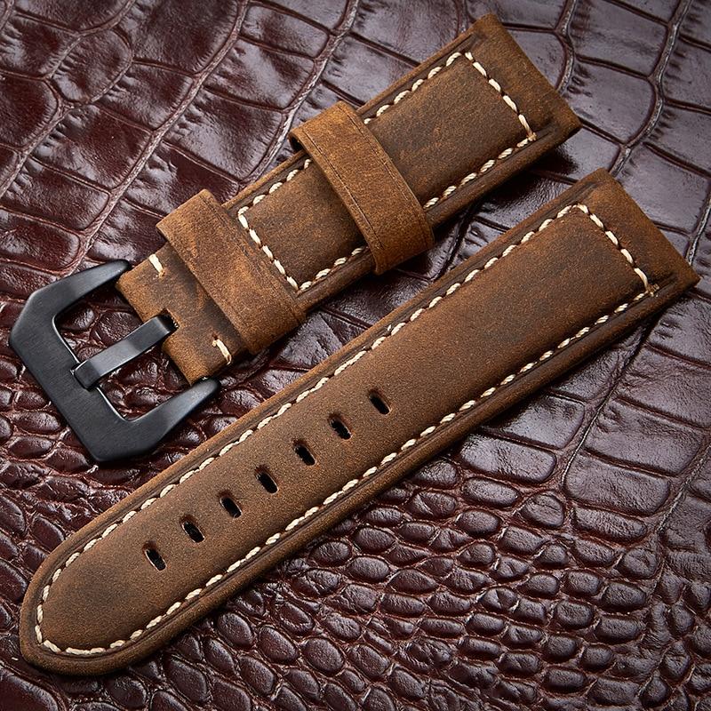 купить Watchbands 20 22 24 26mm Genuine Leather Dark Brown Black Man Women Handmade Vintage Scrub Wrist Watch Band Strap Metal Buckle онлайн