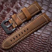 Watchbands 20 22 24 26mm Genuine Leather Dark Brown Black Man Women Handmade Vintage Scrub Wrist Watch Band Strap Metal Buckle