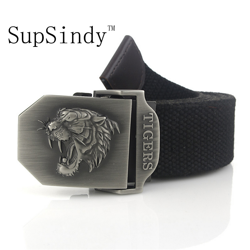 SupSindy men's canvas   belt   tiger metal buckle military   belt   Army tactical   belts   for Male top quality men strap Army green 120cm