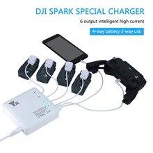 Новое быстрое зарядное устройство с 6 выходами, 2 USB портами и 4 адаптерами, зарядное устройство для батареи DJI Spark и пульта дистанционного управления