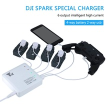 NEW fast charging 6 output Charger with 2 USB Ports and 4 adapters Charge charger for DJI Spark battery and remote control