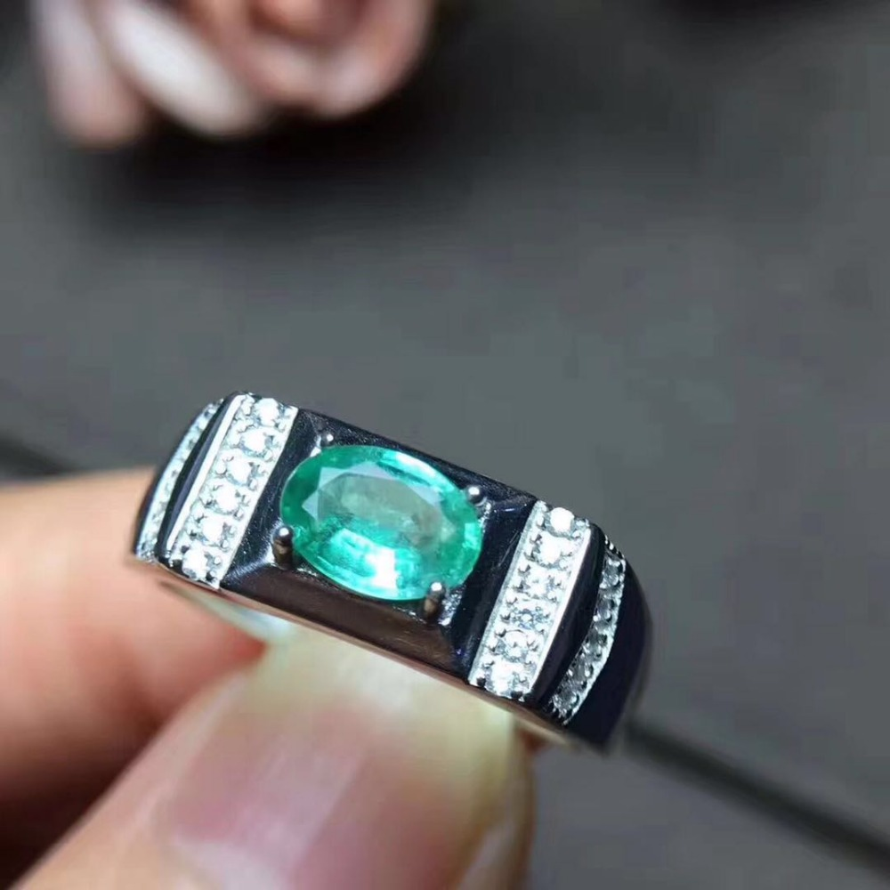 Men ring Emerald ring Natural real emerald 925 sterling silver Free shipping