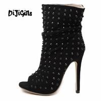 2017 Spring Autumn High Heeled Boots Open Toe Rivet Thin Heels Ankle Boots Women S Pumps
