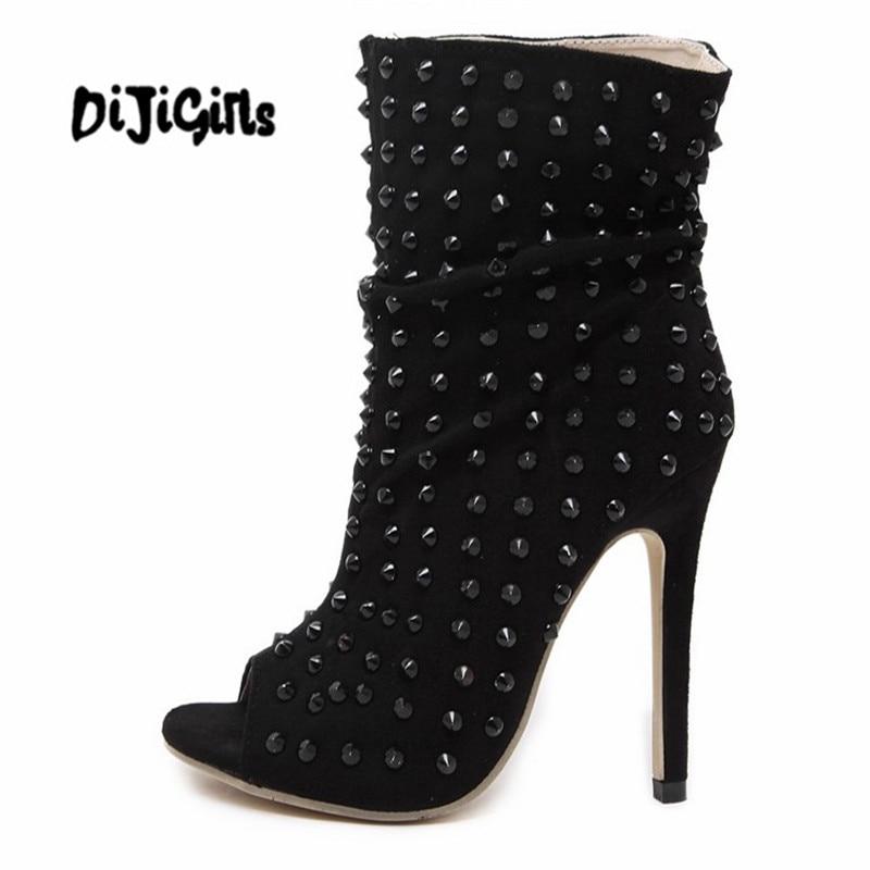 Mince Bout 1 Ouvert De Pompes Automne Talons Bottes Printemps Rivet Peep Toe 12 2018 Femmes Pointu Cheville Chaussures À Hauts Cm vny08wmNO