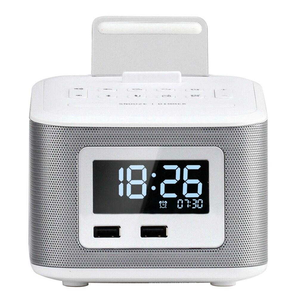 Homtime haut-parleur Bluetooth portable boîte de son sans fil Boombox haut-parleur FM Radio horloge et double USB chargeurs haut-parleurs pour chevet