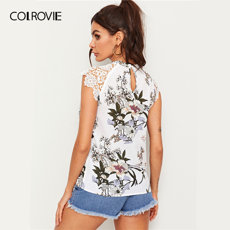 COLROVIE White Floral Print Guipure Lace Raglan Sleeve Boho Blouse Shirt Women Clothing 2019 Summer Elegant Ladies Blouses Women Women's Clothings Women's T-Shirts