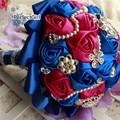 Customized seda Rose crystal Rhinestone boda nupcial mano ramo mariage ramos de novia buque de noiva accesorios de boda